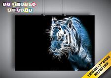 Cartel Poster Tigre Fractalius Azul
