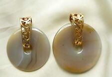 Round Gemstone Pendant Donut Carved stone Gold Donut bail Two sizes