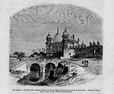 Stampa antica veduta dell' INDIA Akbar AGRA 1857 Old Print