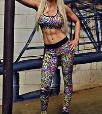 Full Length Leopard Print Leggings S M L Gym Womens Yoga Pants Tight Workout NEW