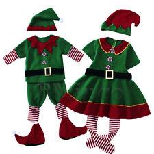 Santa's Little Helper Elf Cosplay Costumes Adult Kids Christmas Elf Green Dress
