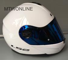LS2 Flip Up Front Motorcycle Motorbike Helmet Gloss White - Tinted Blue Visor