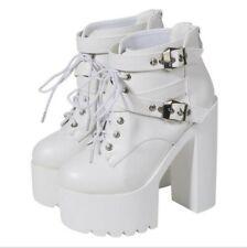 Women's 14cm Block High Heel Platform Buckle Round Toe Ankle Boots Gothic Punk