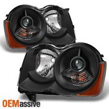 Black 2008 2009 2010 Jeep Grand Cherokee Halogen Projector Headlights Left+Right