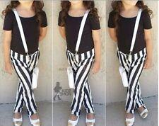 UK Seller Free P&P Kids Girls Casual Cotton T Shirt Top Trousers 2pc set Age 2-7