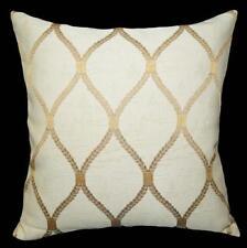 HC511a Lt Gold Lt Brown Beige Checker Jacquard Cotton Cushion Cover/Pillow Case