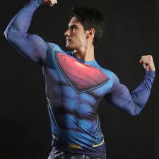 Da Uomo Manica Lunga Compressione Top Palestra Supereroe Avengers Marvel Superman muscolare