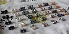 D 6mm bis 10mm  7 Farben Süßwasser Perlen Schmuck Ohrringe Ohrstecker 925 Silber