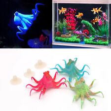 Aquarium Fluorescent Artificial Octopus Suction Cup Fish Tank Decoration Eyeful