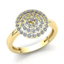Real 0.75carat Round Cut Diamond Womens Bridal Halo Engagement Ring 18K Gold