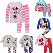 Kinder Mädchen Jungen Mickey Minnie Mouse Schlafanzug Pyjama Nachtwäsche Outfits
