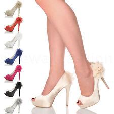 Womens ladies high heel platform peeptoe flower wedding evening shoes size