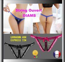 String ouvert Dentelle  Diam's  taille unique 36 /40 Sexy Lingerie Culotte T08