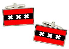 Amsterdam (Netherlands) Flag Cufflinks in Chrome Gift box
