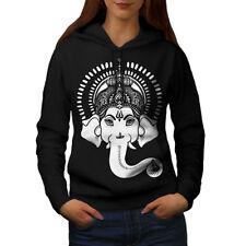 Wellcoda Indian Art Ganesha Womens Hoodie, Hindu Casual Hooded Sweatshirt