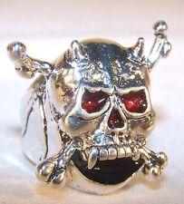 SKULL AND CROSS BONES BIKER RING BR145 HEAVY pirate silver unisex jewelry