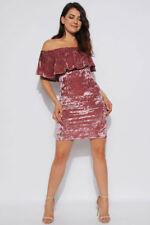 Womens Boutique Velour Rose  Bardot Pencil Bodycon Celeb Xmas Party  Dress