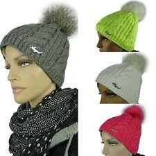 Mütze MIKA Bommelmütze Wintermütze Strickmütze Beanie Damenmütze Fellbommel