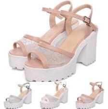 Peep Toe Buckle Strap Slingbacks Sandals Platform Block Heel Roman Shoes 34/46 D