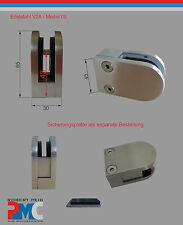 Edelstahl Inox Glashalter Glasklemme Glass Clamp V2A / Flach