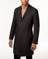 NWT HUGO (Hugo Boss Red Label) Slim Fit Charcoal Herringbone Overcoat Sz 46R