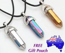 Crystal Quartz Point Hexagon Healing Chakra Pendant Necklace Rainbow Silver Gold