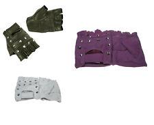 Leather Fingerless Stud Gloves (Purple, Brown, White) Small, Medium, Large