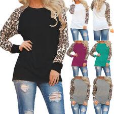 Womens Long Sleeve Leopard T Shirt Ladies Crew Neck Casual Tops Blouse Plus Size