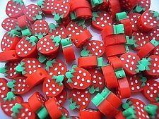 Fresa Rosa O Rojo Fresa 25 polímero fimo perlas Rápido Gratis P&P