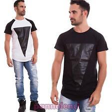 Maglia uomo maglietta t-shirt rapper ecopelle traforata casual nuova A15632