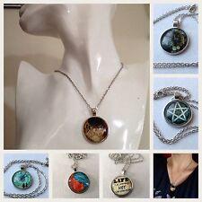 Cabochon Tibetan Silver Glass Chain Pendant Necklace **UK SELLER**