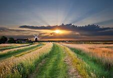 Unframed Photo Canvas Print Poster Picture Norfolk Broads Windmill Sunrise Field