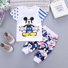 Baby Boys Summer 2pc Cartoon Mickey Short Sleeve T-shirt+Shorts Cotton Clothing