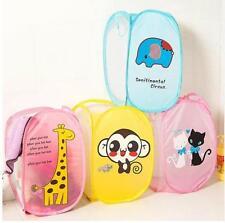 Cute Foldable Meshy Laundry Hamper Dirty Clothes Basket Bags Storage Barrels