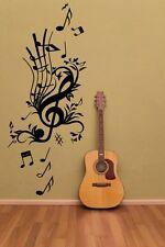 Chiave Floreale MUSICA-Grande Adesivo Parete Decalcomania Musica Note. molti Colori. NUOVO UK