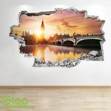 Londres sunset autocollant mural 3D look-chambre à coucher salon london eye applique murale Z292
