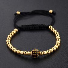 4mm Micro Pave CZ Zircon 18K Plated Round Beads Braided Macrame Men's Bracelets