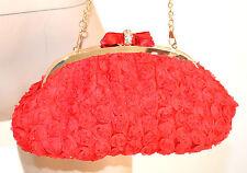 POCHETTE ROSSA donna BORSELLO ORO borsa elegante borsetta raso da cerimonia E35