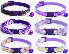 Purple Dog Collar Puppy Small XS Tiny Strong Clip Male Female Girl Nylon Cute UK