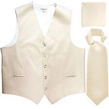 New Men's Ivory formal vest Tuxedo Waistcoat ascot & hankie set prom