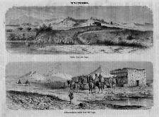 Stampa antica TUNISIA Laguna di Tunisi Cartagine 1870