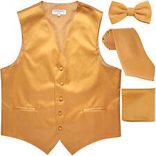 New Men's solid Tuxedo Vest Waistcoat & necktie & Bow tie & Hankie gold prom