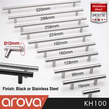 Kitchen Handle Cabinet Cupboard Door Drawer Handles Black Stainless Steel T Bar