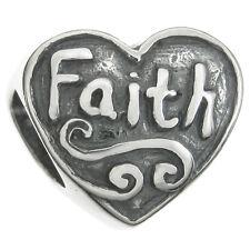 Antique Sterling Silver Faith Love God Heart Bead For European Charm Bracelets