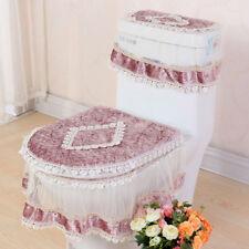 Toilet Seat Cover Lace Tank Closestool Lid Mat Pad Bathroom Warm Cloth 3PCS/Set