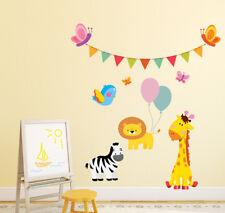 Animals Wall Decal, Safari Animal Decal, Giraffe Zebra Lion Nursery Decor aa537