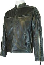 UNICORN Hommes Réel en cuir Veste grain motard style Noir #S6
