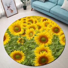 Summer Blooming Sunflowers Pattern Area Rugs Bedroom Living Room Round Floor Mat