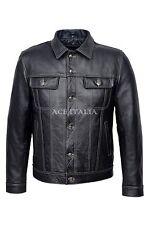 New TRUCKER Men's Black 1280 HIDE Classic Western Real CowHide Leather Jacket