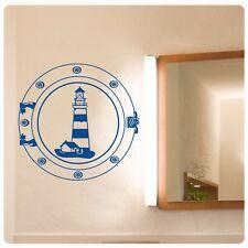 Leuchtturm Wandtattoo Bullauge Wandaufkleber Maritim Bad WC Badezimmer W231